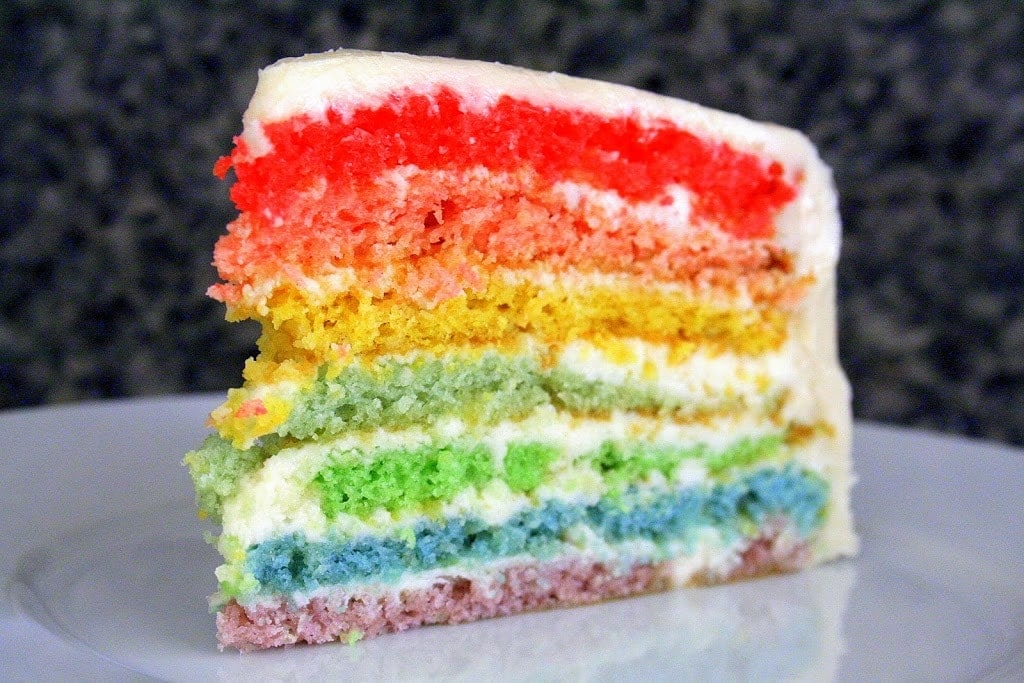 Colorful and fun easy rainbow cake with 7 different colors!