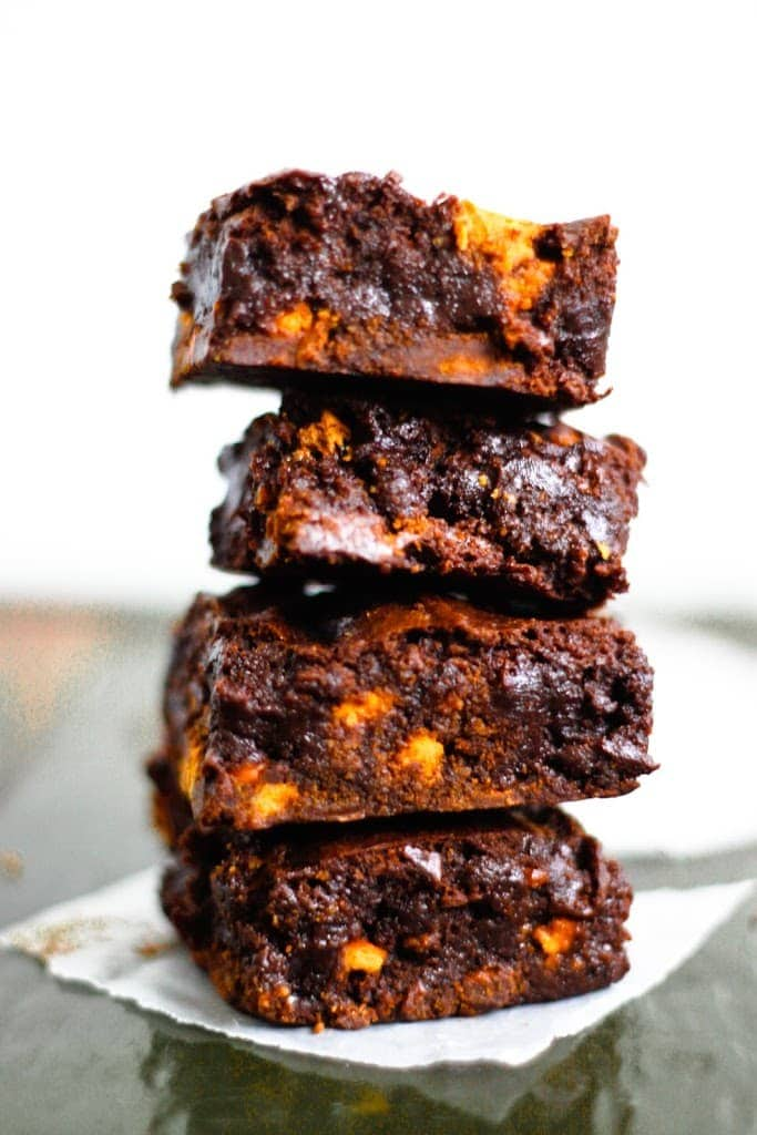 butterscotch cocoa brownies in a stack