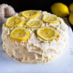 lemon silk cake with lemon cream cheese frosting and candied lemon