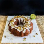 Pistachio, coconut, lime, and rosewater bundt cake