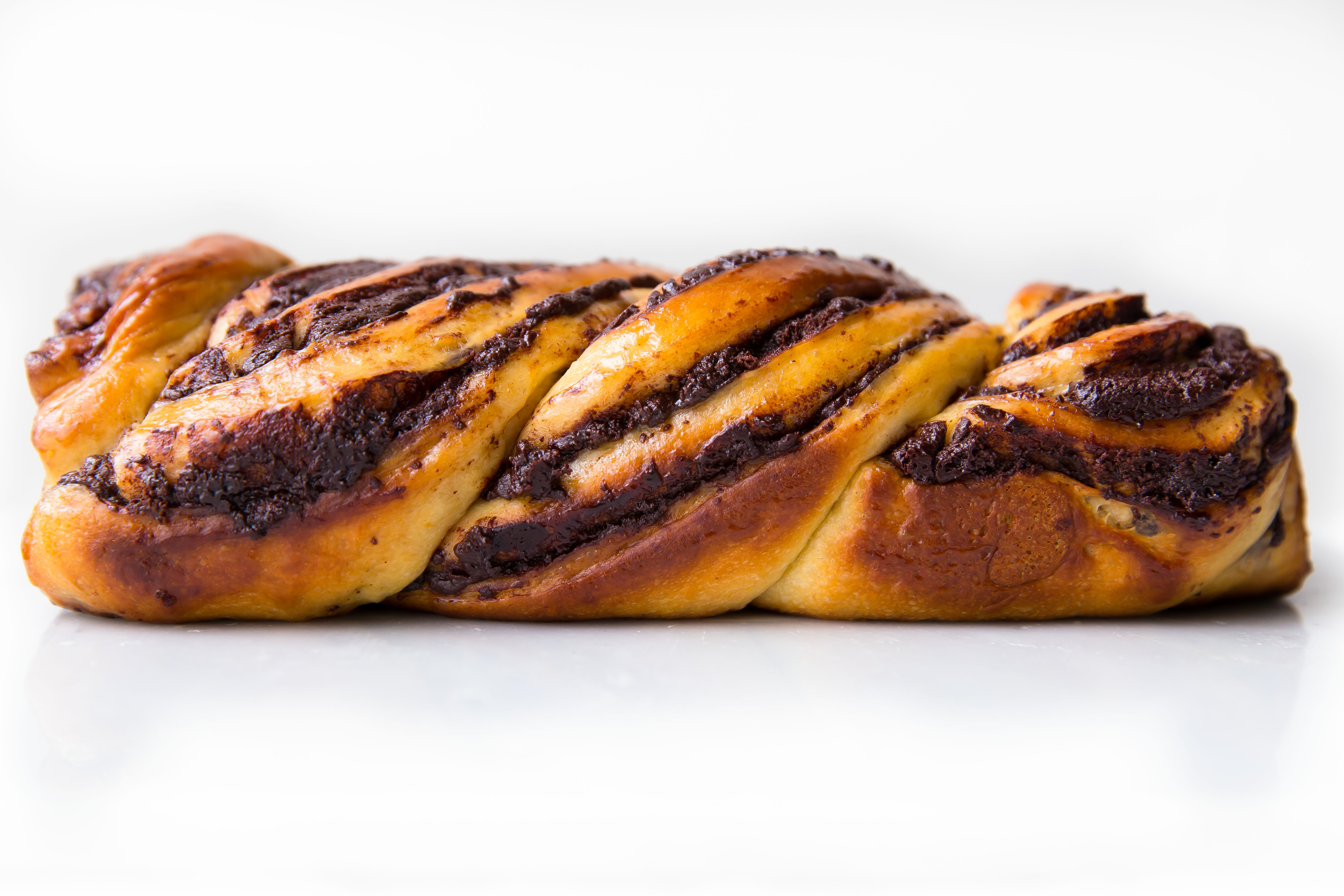 chocolate babka loaf on countertop