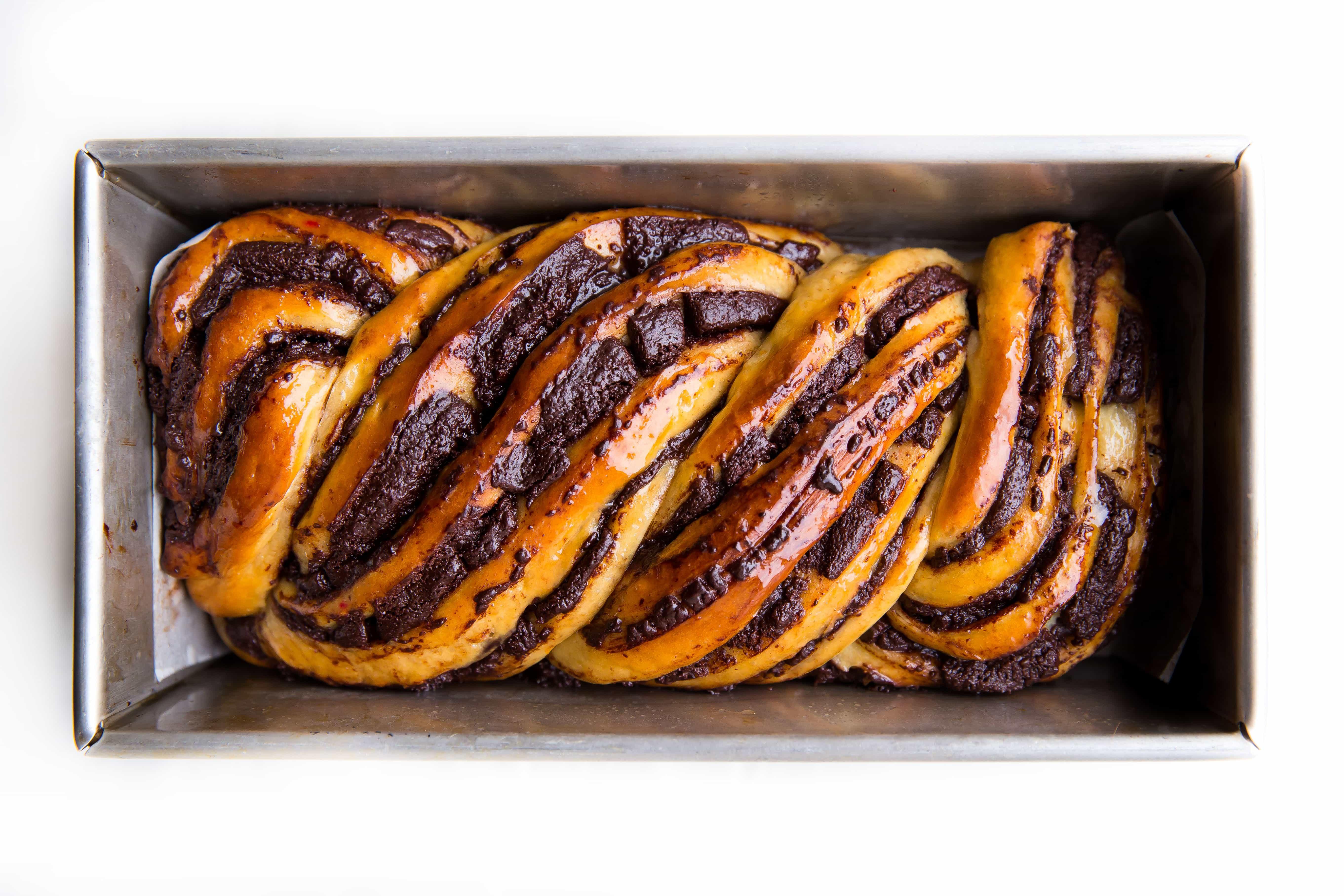 chocolate babka in loaf pan