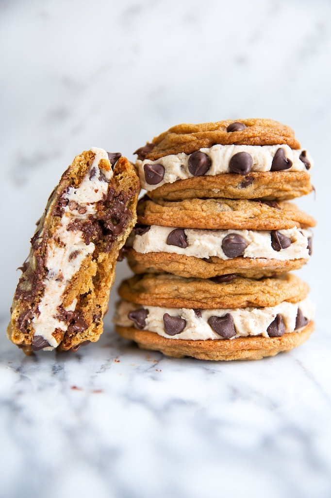 chocolate chip cookie sandwich with cookie dough frosting