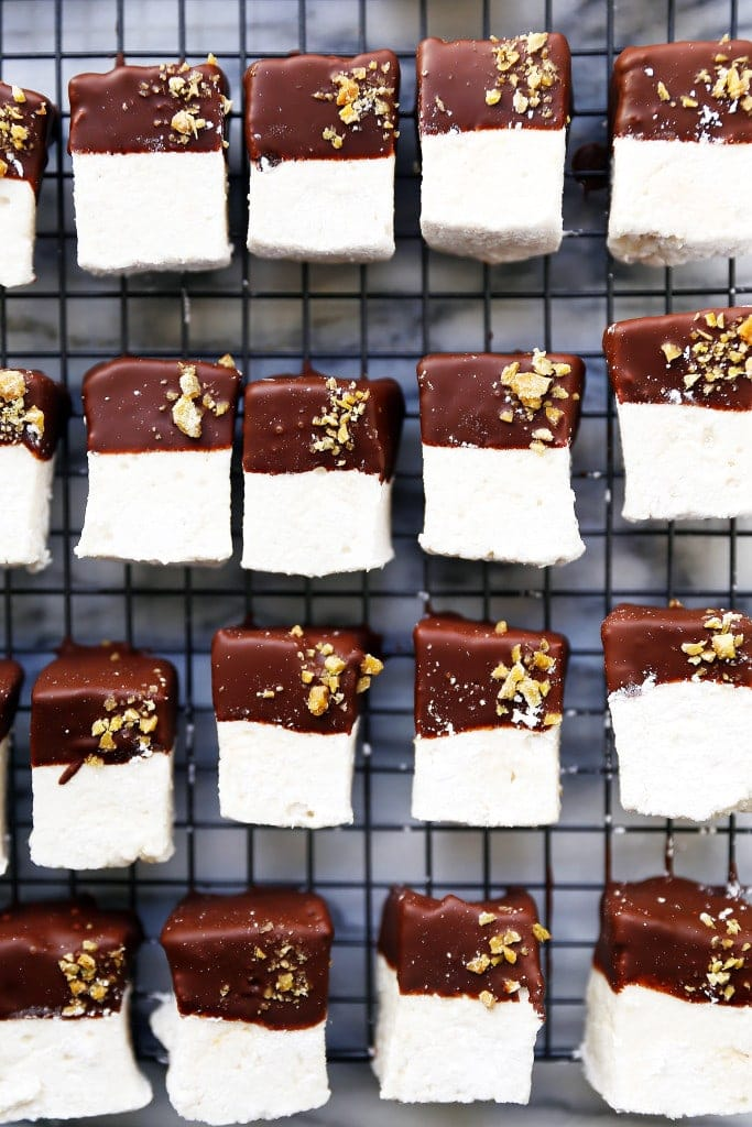 Soft and pillowy marshmallows with three types of ginger and dark chocolate! | Broma Bakery