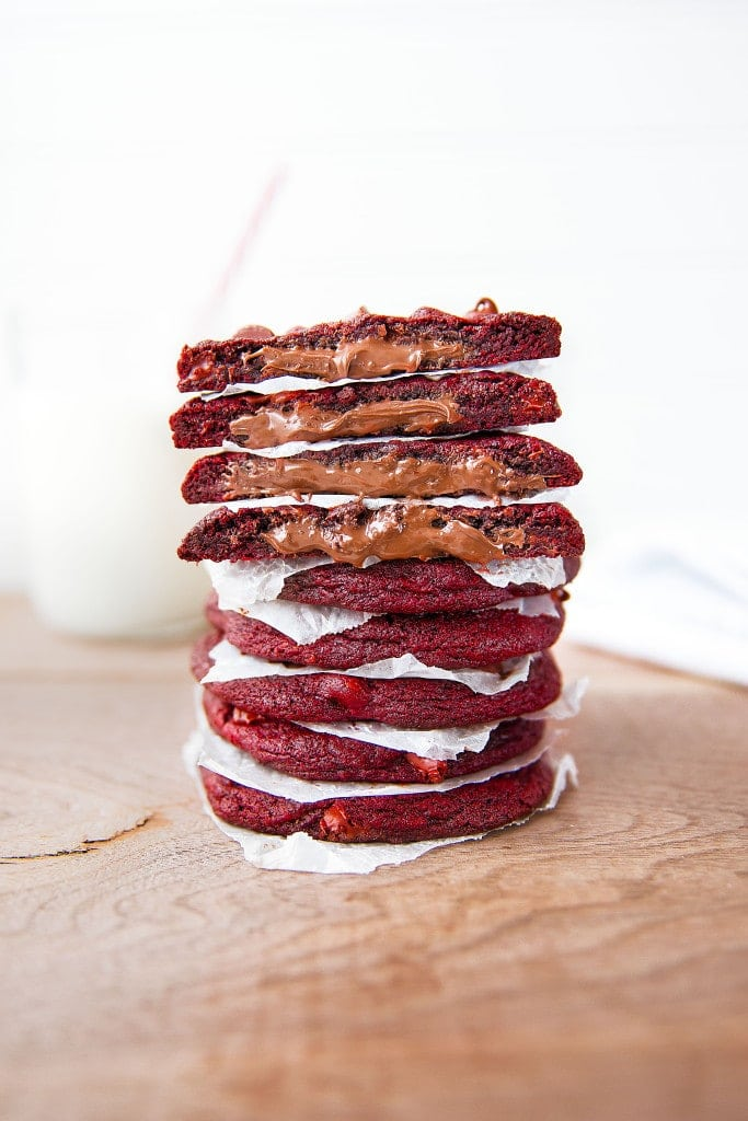 Nutella Stuffed Red Velvet Cookies