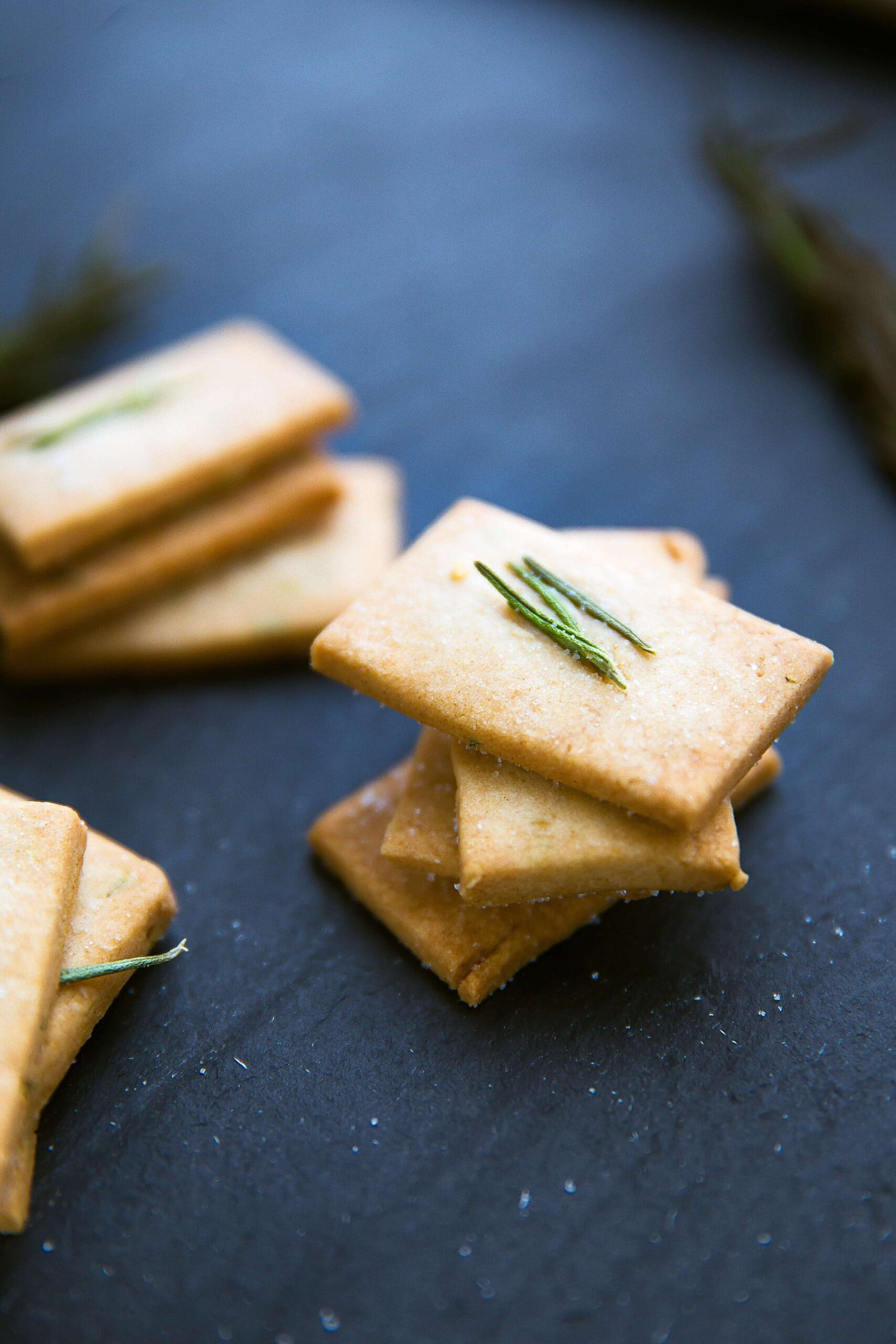 Rosemary-infused Shortbread Crackers with a touch of sweetness and a ton of flavor | Broma Bakery