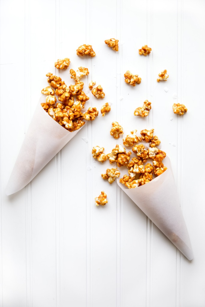 Salted Caramel Popcorn in paper cones