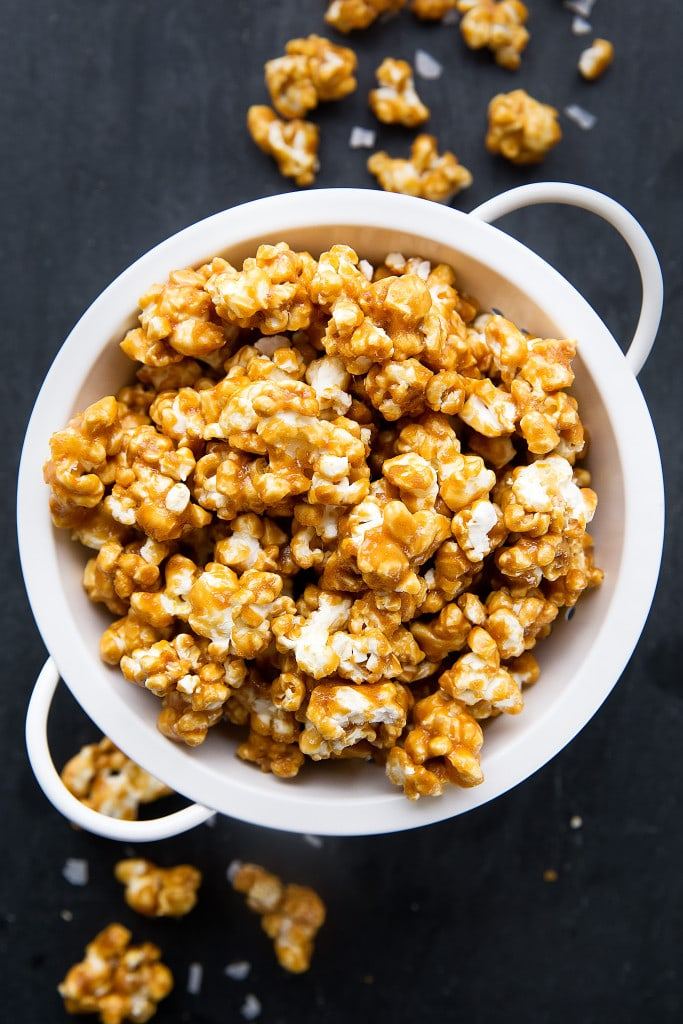 Salted Caramel Popcorn in a bowl
