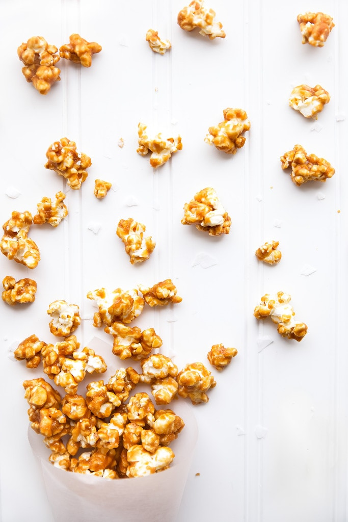 Salted Caramel Popcorn on countertop