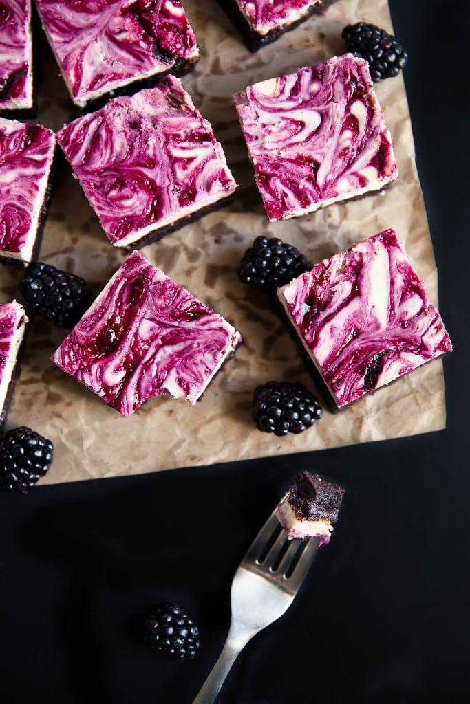 Blackberry cheesecake brownies with a fork