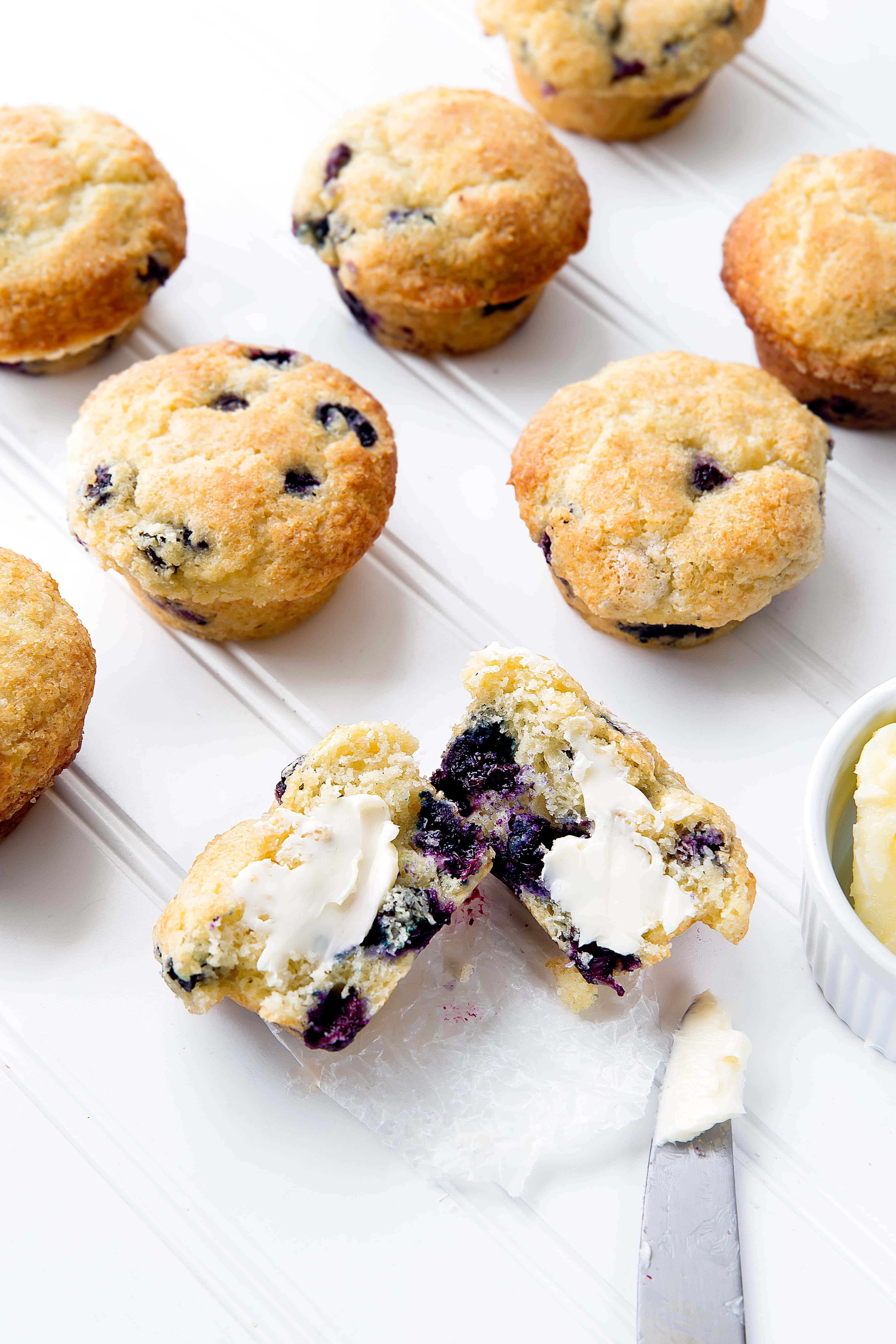 Sky high Bakery Style Blueberry Muffins are soft, fluffy, and loaded with juicy blueberries. One bite and you'll agree that they're the best blueberry muffin you've ever had!