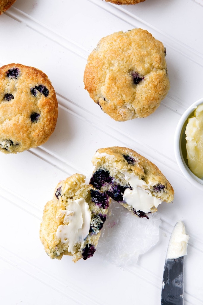 bakery style blueberry muffin with butter