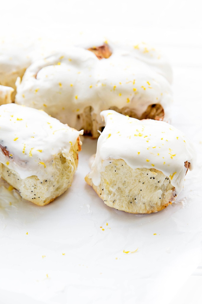 Sticky-sweet Lemon Poppyseed Sticky Buns with a lemon cream cheese frosting