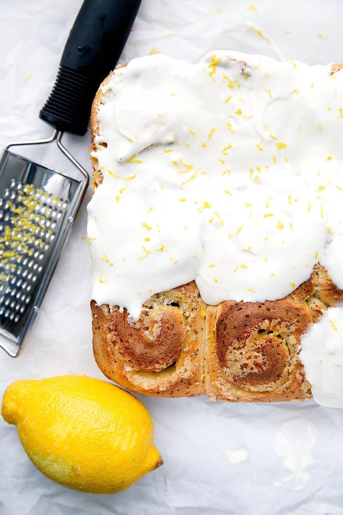 Sticky-sweet Lemon Poppyseed Sticky Buns with a lemon cream cheese frosting