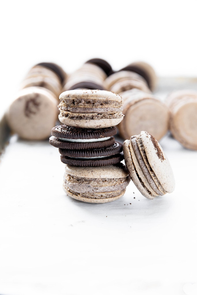 cookies and cream macarons in a stack