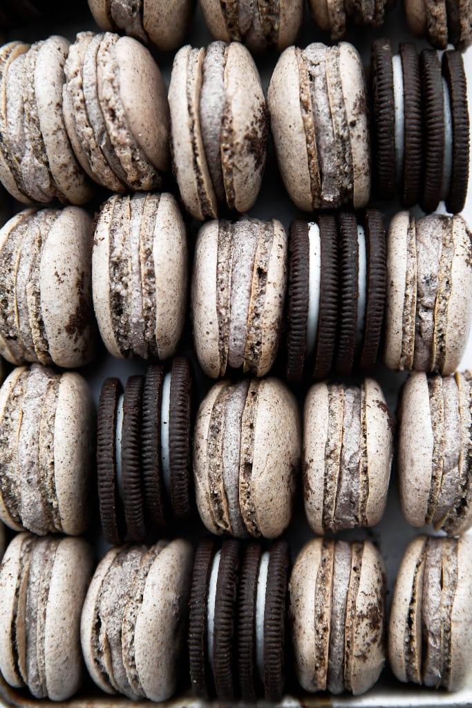 cookies and cream macarons with oreos