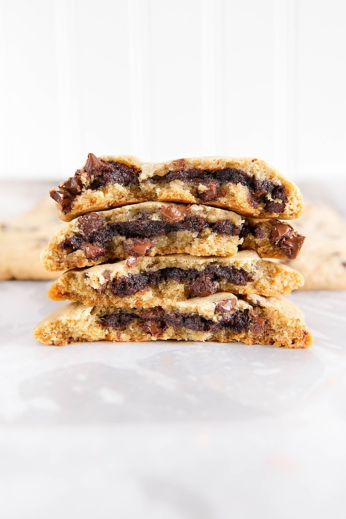 stuffed chocolate chip cookies in a stack