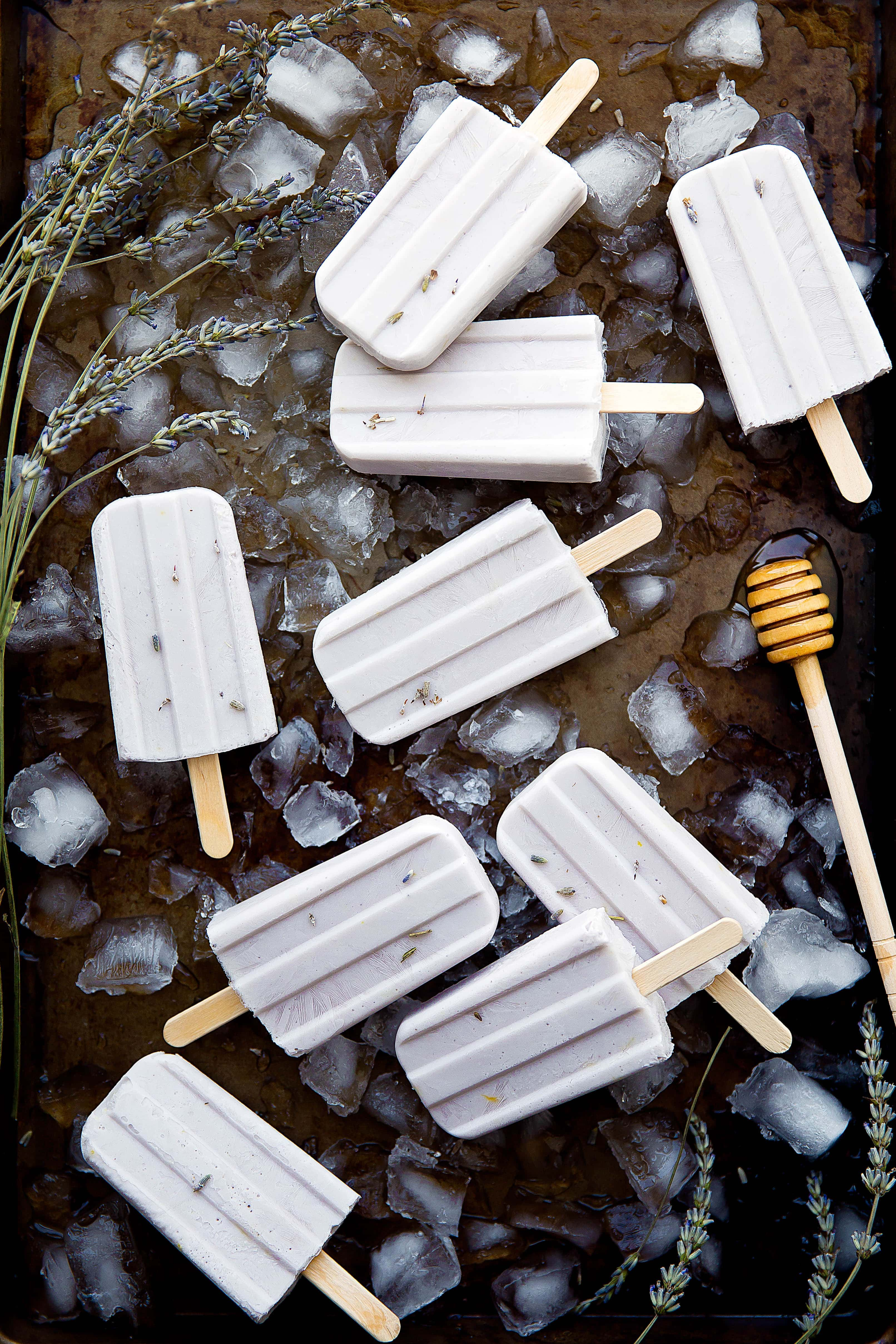 Honey Lavender Popsicles are perfect for summer, and at only 67 calories each, they won't kill your beach bod either!
