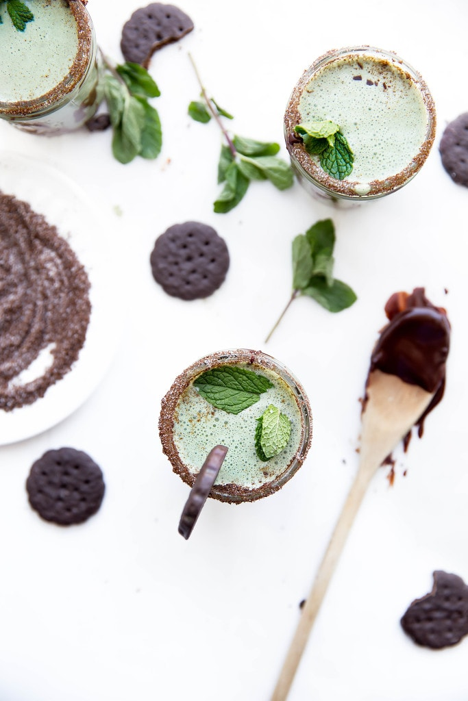 A Thin Mint Milkshake made with fresh mint, Thin Mint cookies, and vanilla ice cream. Perfect for St. Patty's Day!