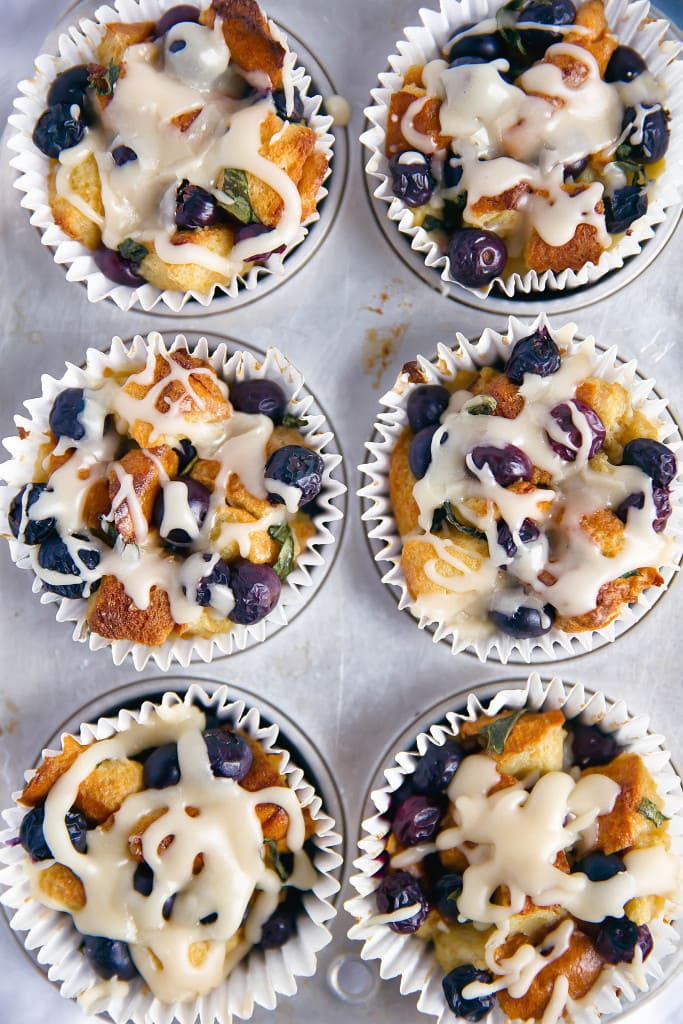 Basil Blueberry French Toast Cups in a muffin tin