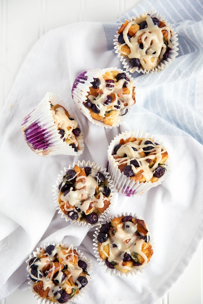 Blueberry Basil French Toast Cups with white maple icing have all the goodness of french toast in a delicious handheld pastry.