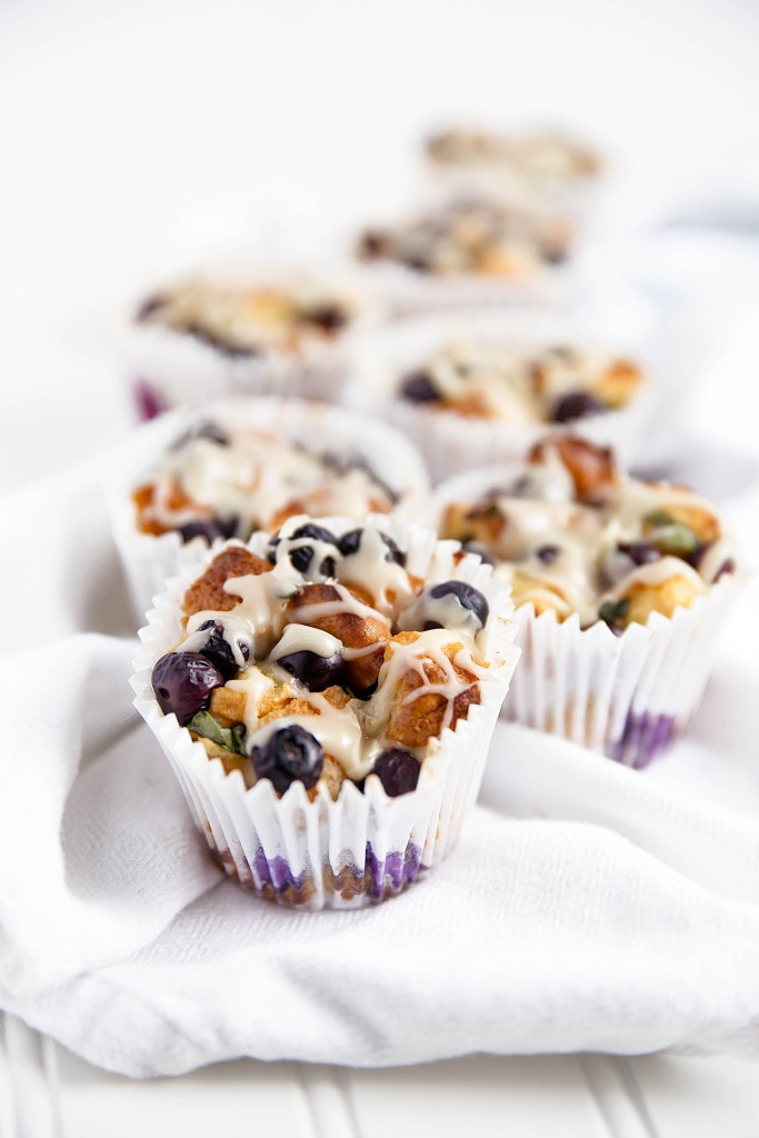 Basil Blueberry French Toast Cups with maple icing