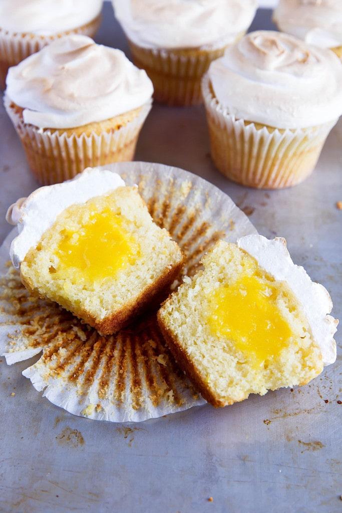 lemon meringue cupcake with lemon curd filling