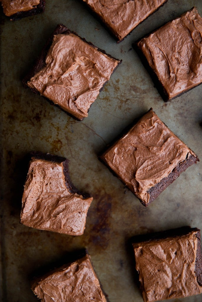 bourbon brownies on a baking tray