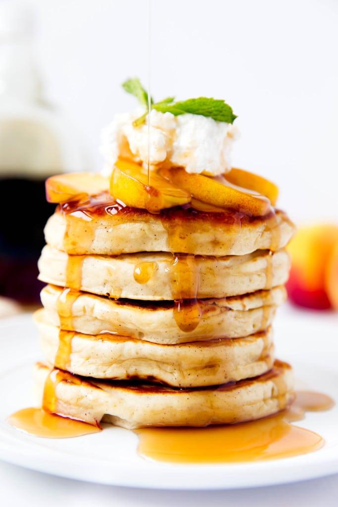 Bourbon Peach Pancakes - Broma Bakery