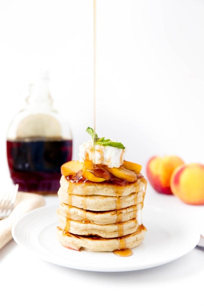 Bourbon Peach Pancakes