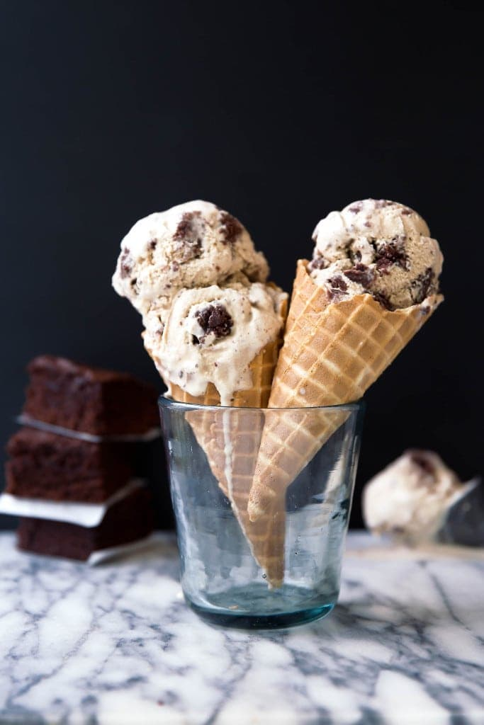Brown Butter Brownie Ice Cream: nutty brown butter ice cream swirled with fudgy brownie pieces. One bite and you're in ice cream heaven.