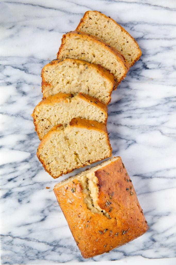 sliced loaf of Banana Lavender Bread