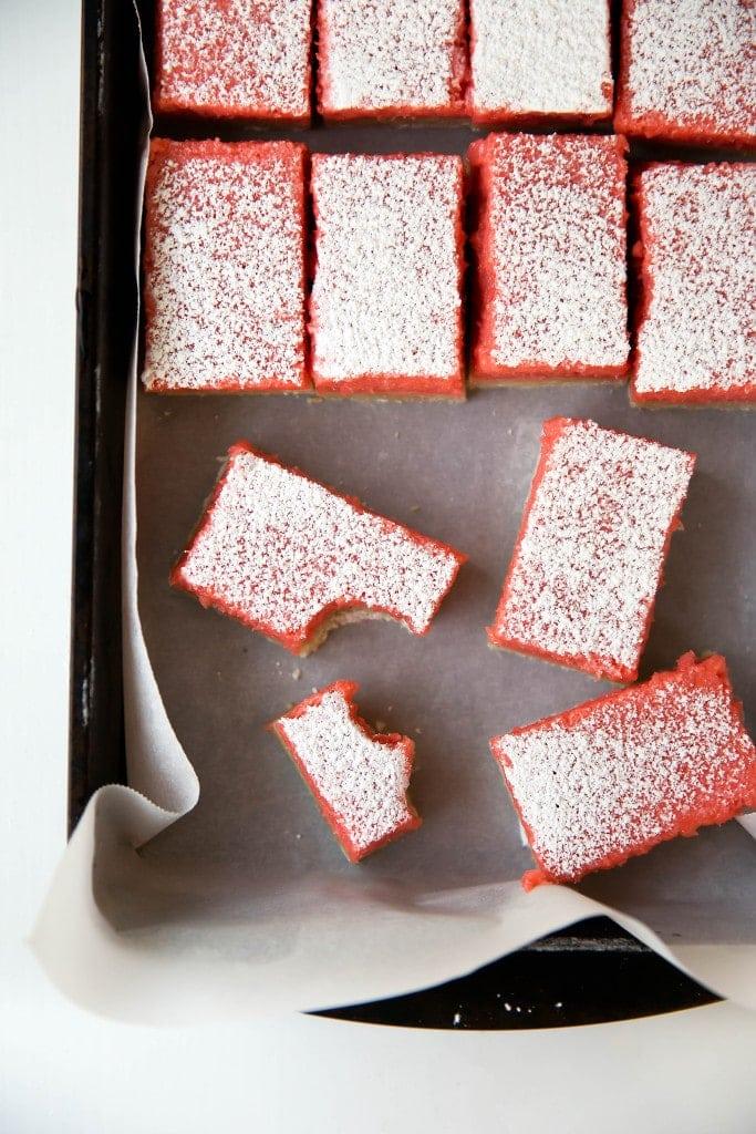 sliced Rhubarb Bars in a pan