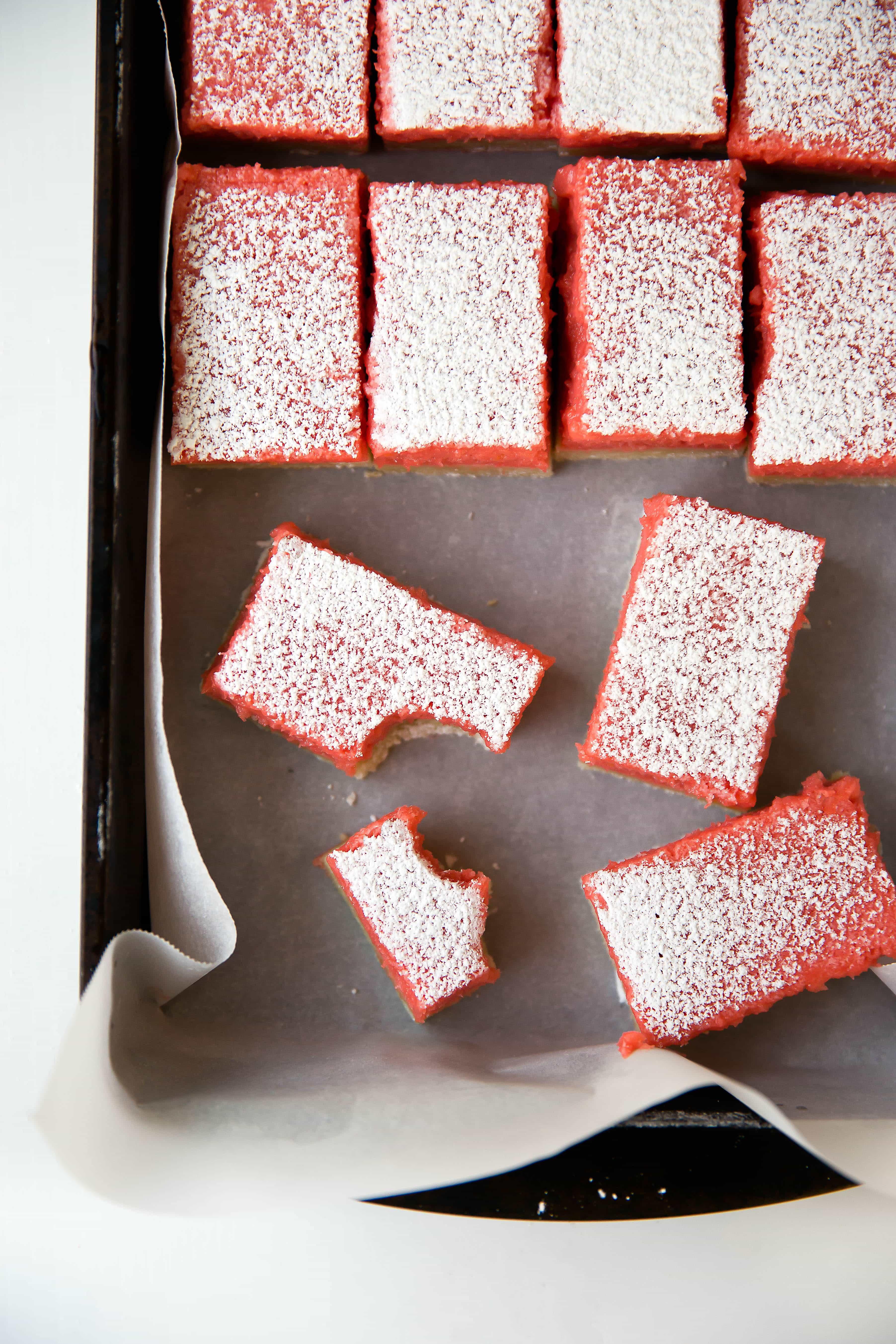 Rhubarb Bars: like a lemon bar, but with a bright and juicy rhubarb twist!