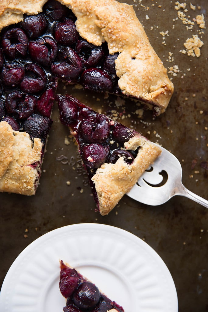 serving slices of Balsamic Cherry Galette