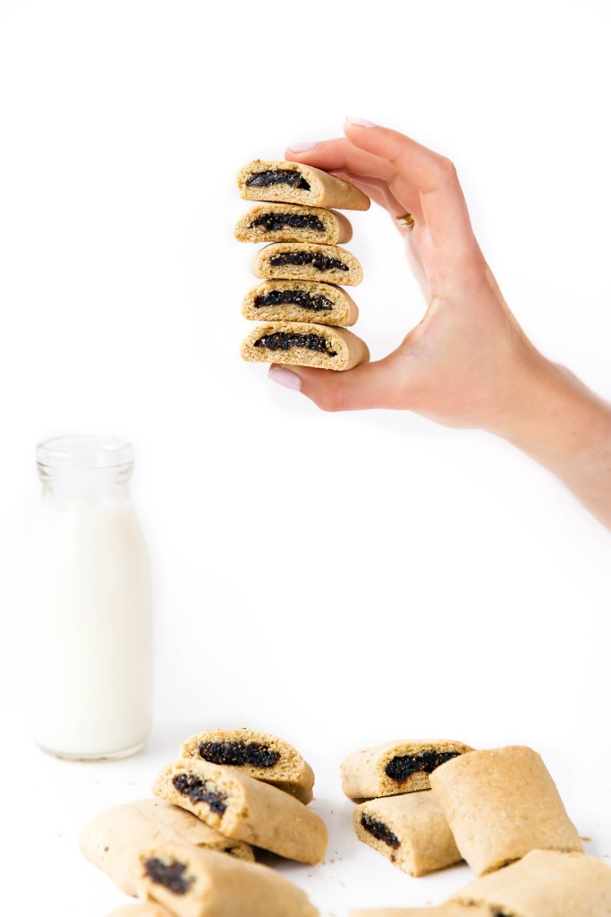 Homemade Fig Newtons held in a stack