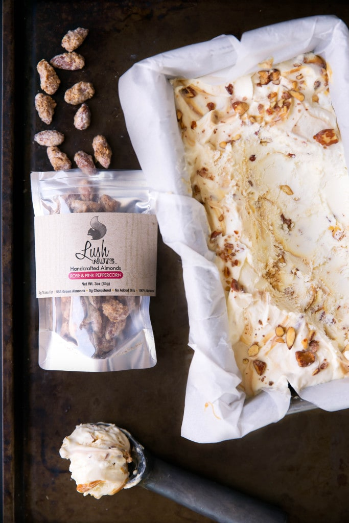 mascarpone ice cream with peppercorn almonds