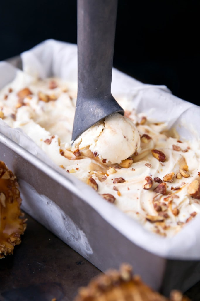 This buttery no churn Mascarpone Ice Cream is swirled with homemade salted caramel and spiced rose & pink peppercorn almonds. Best yet? No ice cream maker required!