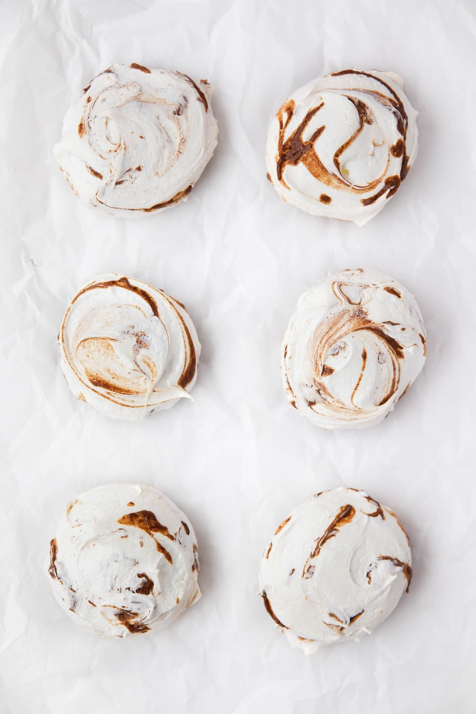 Nutella Meringues: Pillowy meringue cookies swirled with ribbons of rich nutella.