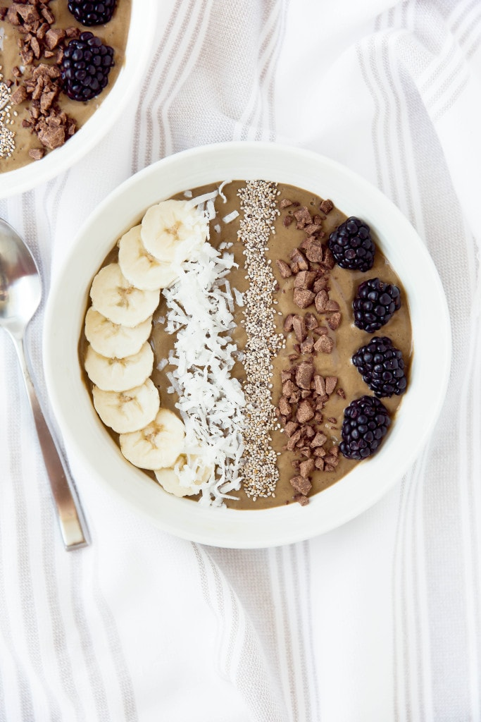 chocolate smoothie bowl with toppings