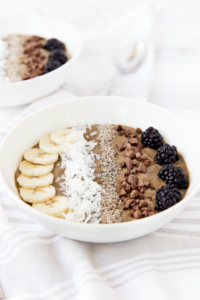 chocolate smoothie bowl in a white bowl