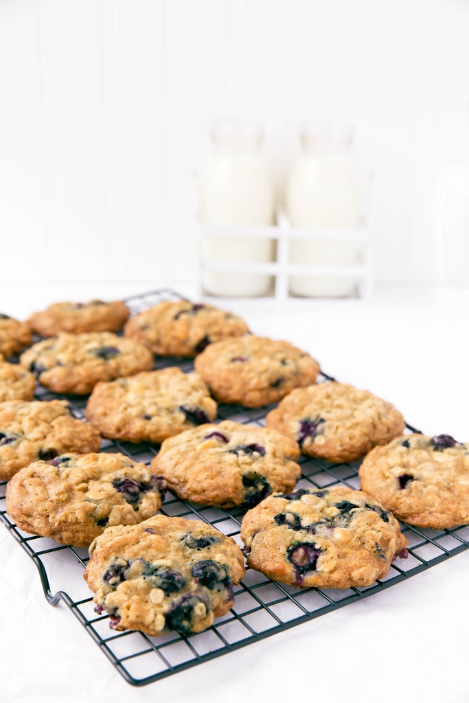 white chocolate blueberry oatmeal cookies with milk