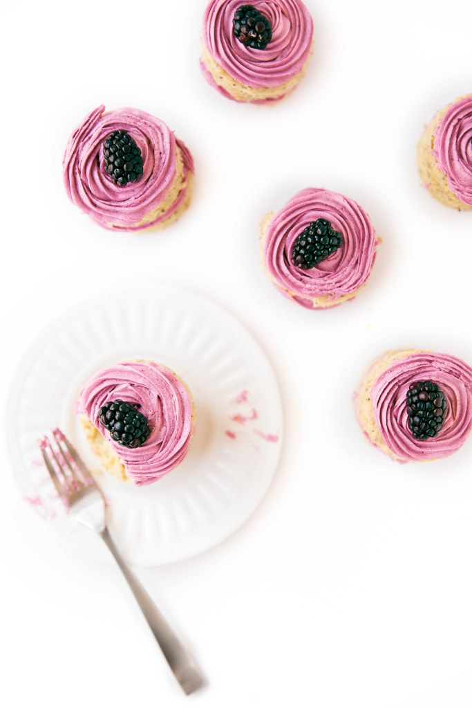 Scrumptious earl grey-infused cakes topped with a roasted blackberry buttercream