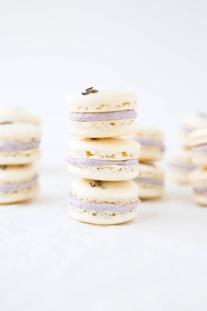 Lavender Coconut Macarons: summery coconut macarons filled with a fragrant lavender buttercream