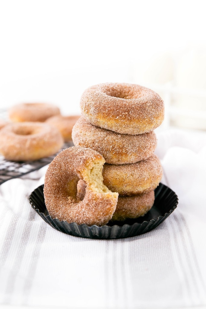 The softest and most addicting Snickerdoodle Donuts. Oh yeah, and they're baked!