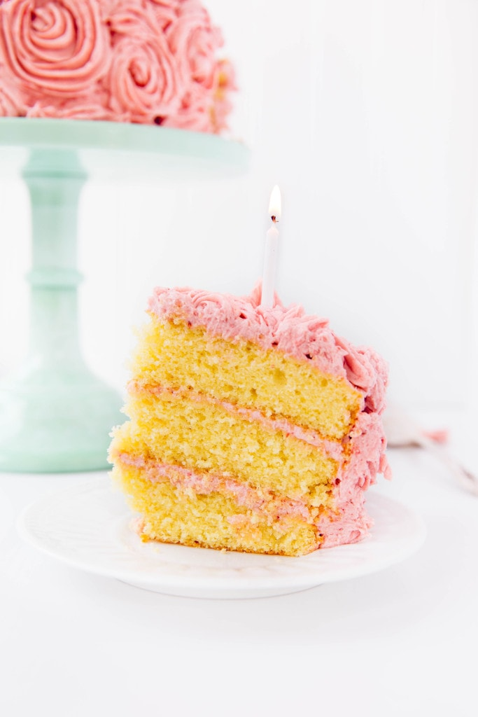 slice of Almond Strawberry Cake with Strawberry Buttercream