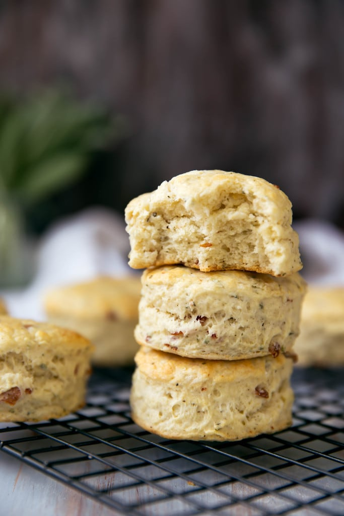 Creamy, flakey buttermilk biscuits speckled with fresh sage and bacon. A winning combination worthy of any table.