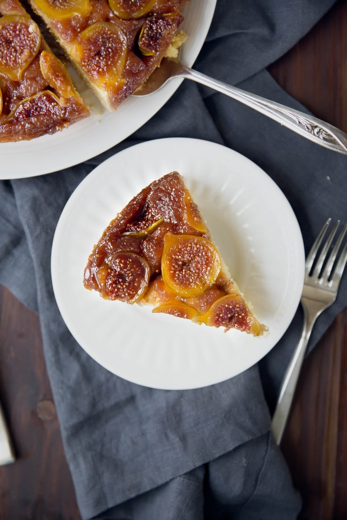 Caramelized Fig Upside Down Cake: sticky caramelized figs baked into a luscious orange-scented cake