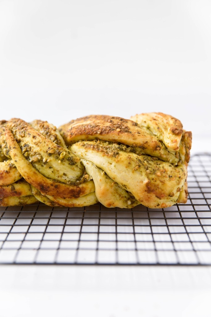 Parmesan Pesto Bread on a wire rack