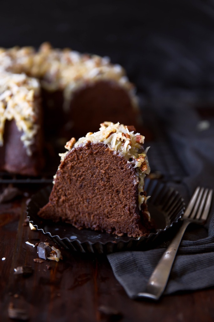 German Chocolate Pound Cake: a rich, brownie-like chocolate cake topped with gooey coconut pecan frosting!